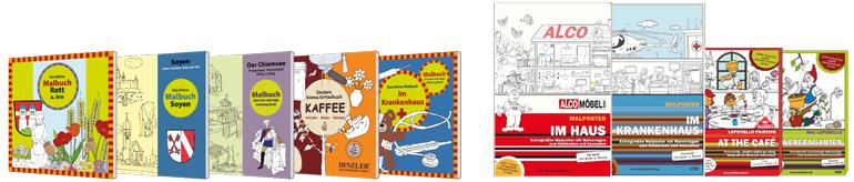 Beispiele realisierter Malbücher, Kritzelbücher und Ausmalposter